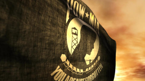 (1096) POW MIA Flag with Sunset Animation