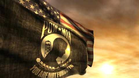 (1097) POW MIA and American Flags with Sunset Image