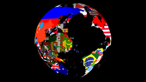 Loopable HD Map Globe Middle Stock Video Footage