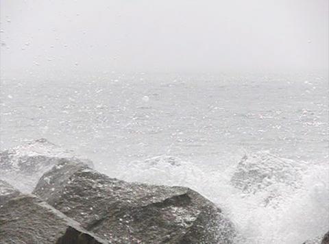 Ocean Waves 07 Waves crashing on rocks Loop Stock Video Footage
