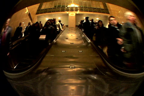 Grand Central Station Escalator Down Fish Eye Shutter 1 Stock Video Footage