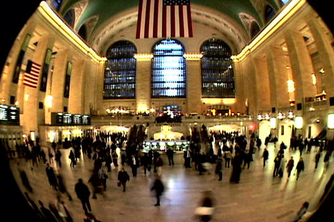 Grand Central Station Fish Eye Shutter XWide Stock Video Footage