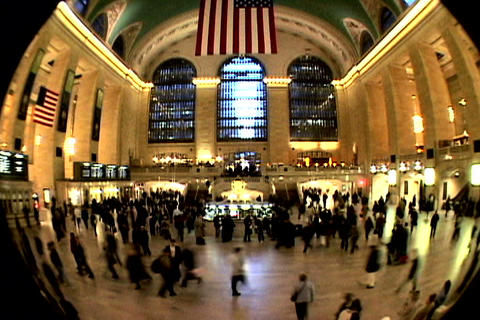 Grand Central Station Fish Eye Shutter XWide 2 Stock Video Footage