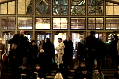 Grand Central Station Shutter Front Door Wide 2 Stock Video Footage