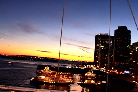 Ocean view from New York Bridge Stock Video Footage