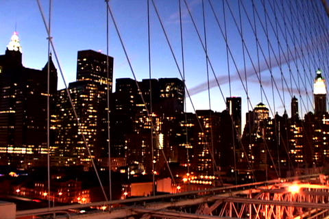 Cityscape from New York Bridge 2 Stock Video Footage