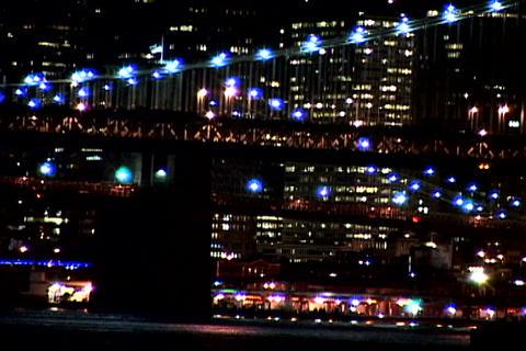 Lighted New York bridge at night Stock Video Footage