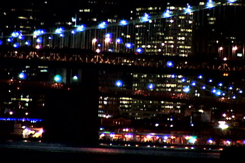Lighted New York bridge at night Stock Video Footage
