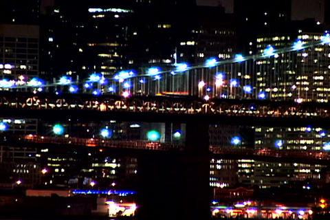 New York Bridge at night shutter Stock Video Footage