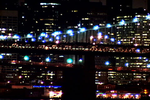 New York Bridge at night shutter Footage
