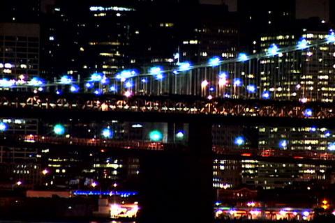 New York Bridge at night shutter Footage