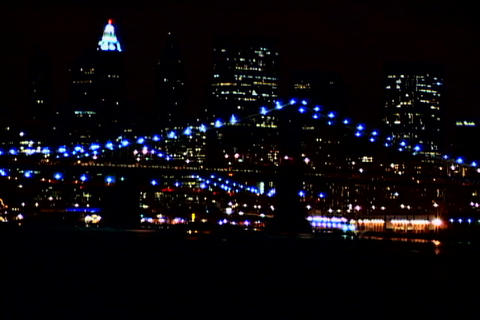 New York Bridge at night 1 Stock Video Footage