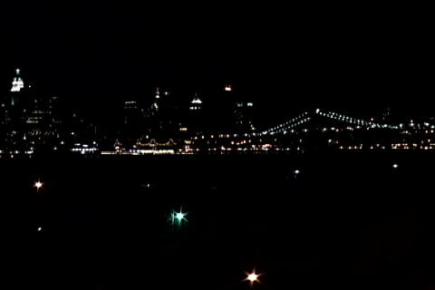 New York city lights wide shot 1 Stock Video Footage