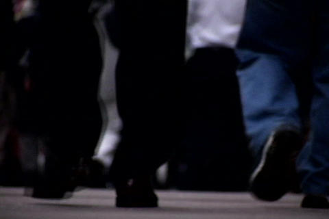 Close up of walking feet at crowded sidewalk 1 Stock Video Footage