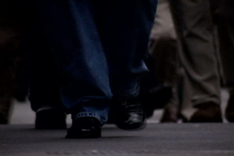 Close up of walking feet at crowded sidewalk 3 Stock Video Footage