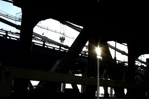 Train crossing bridge, New York Stock Video Footage