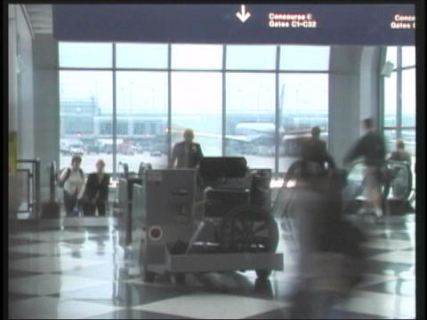 Timelapse travelers in airport Stock Video Footage