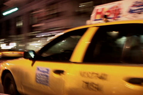 New York yellow taxi at night Stock Video Footage