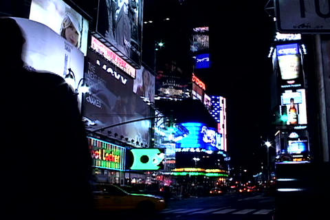 Times Square buildings at night 1 Footage