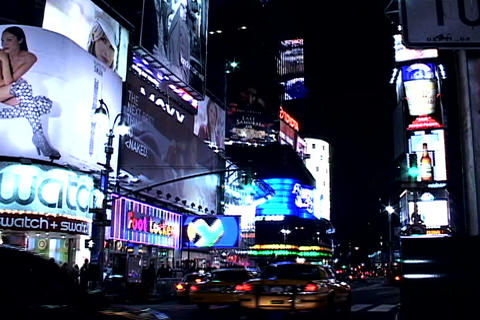 Times Square buildings at night 1 Stock Video Footage