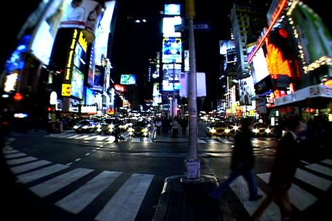 Times Square walkway traffic fish-eye shot 1 Stock Video Footage