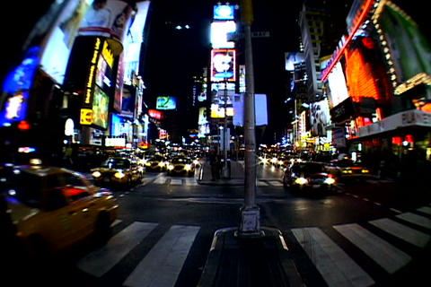 Times Square walkway traffic _fish-eye shot 3 Footage