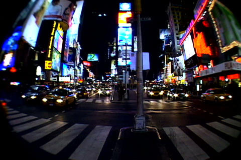 Times Square walkway traffic _fish-eye shot 3 Stock Video Footage