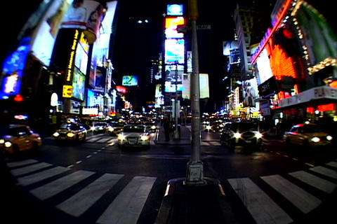 Times Square walkway traffic _fish-eye shot 3 Stock Video Footage