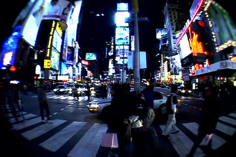 Times Square walkway traffic at night Stock Video Footage