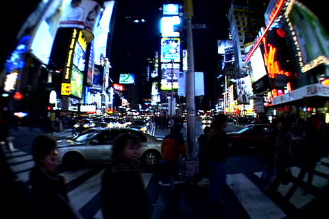 Times Square walkway traffic at night Footage