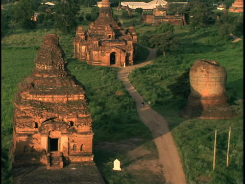 A Path Winds Through Pagan Buddhist Temples In Burma stock footage