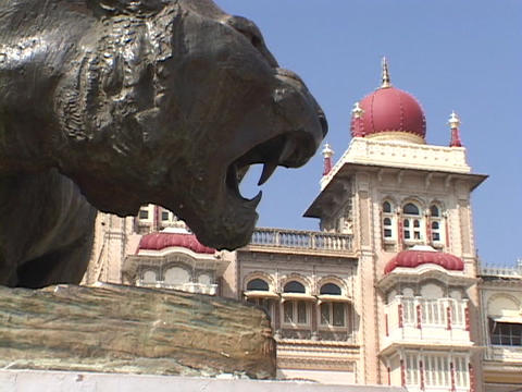A lion sculptures adorns the outside on the Maharaja palace Footage