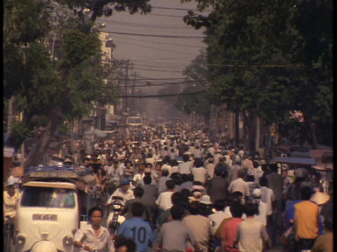 Bicycle traffic fills up the streets in Saigon Footage