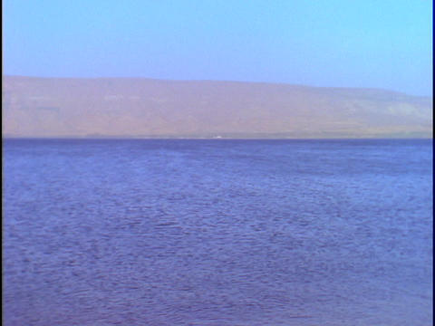 The Sea of Galilee stretches into the distance Stock Video Footage