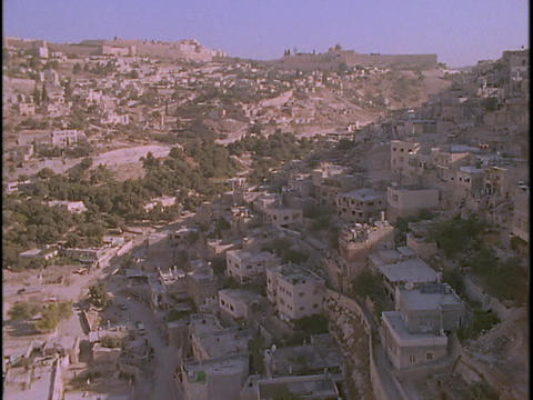 An aerial over Palestinian villages in the West Bank near... Stock Video Footage