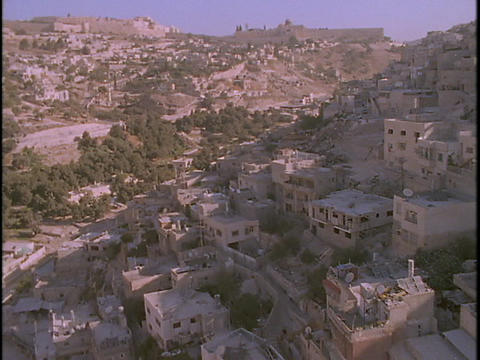 An aerial over Palestinian villages in the West Bank near Jerusalem Footage