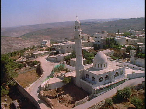 An aerial over a mosque in the Palestinian region of Israel Stock Video Footage