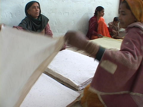 Factory workers sort paper Stock Video Footage