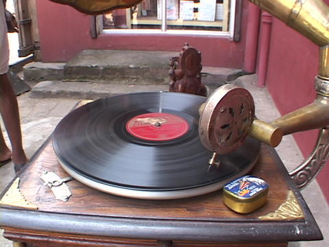 A record spins on an old phonograph Stock Video Footage
