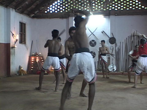 Men train at a martial arts school Stock Video Footage