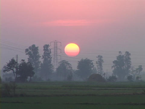 The sun sits behind electrical wires Stock Video Footage