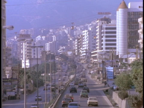 Traffic fills the streets of East Beirut, Lebanon Stock Video Footage