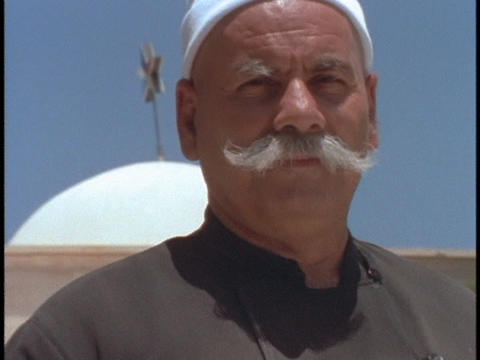 A Druze villager wears a serious expression Stock Video Footage