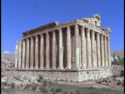 Pillars adorn an ancient Roman temple Footage