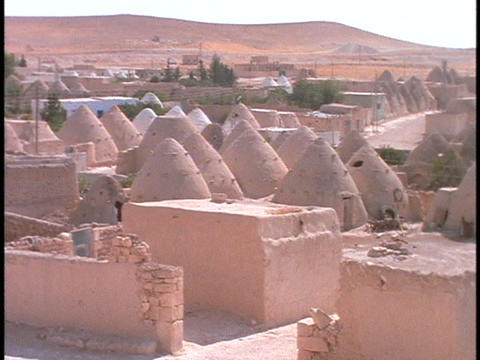 Domed mud houses sit in a village in the desert Stock Video Footage