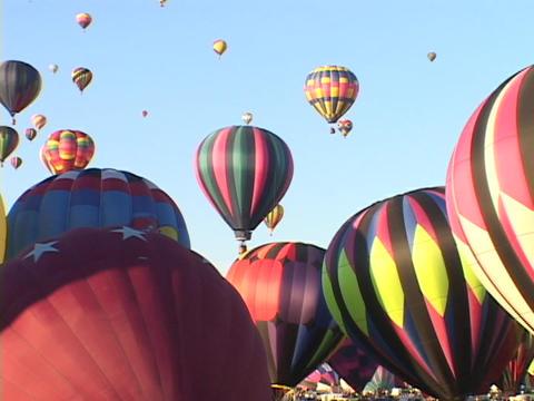 Hot air balloons take off at the Albuquerque Balloon... Stock Video Footage