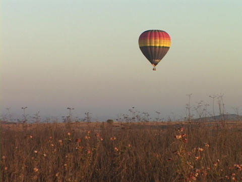 A hot air balloon hovers over fields Footage