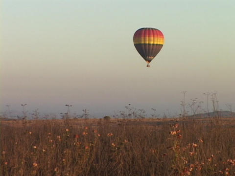 A hot air balloon hovers over fields Stock Video Footage