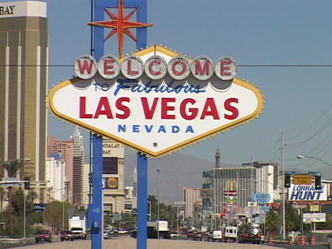 The welcome to Las Vegas sign greets visitors Footage