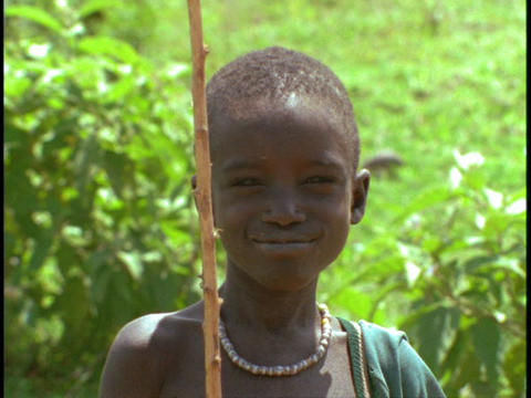 A young boy smiles happily Stock Video Footage